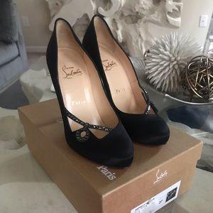 Christian louboutin round toe rhinestone heels